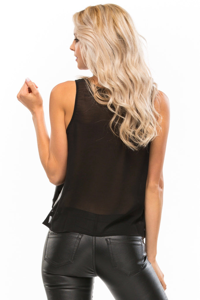 Leather Cut-Out Top