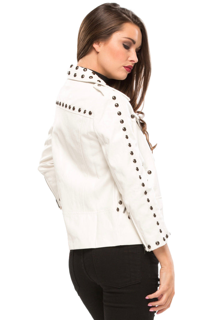 Discount New Arrival Inexpensive Cheap Price Stud Moto Jacket in White Line & Dot gdimSrvwB
