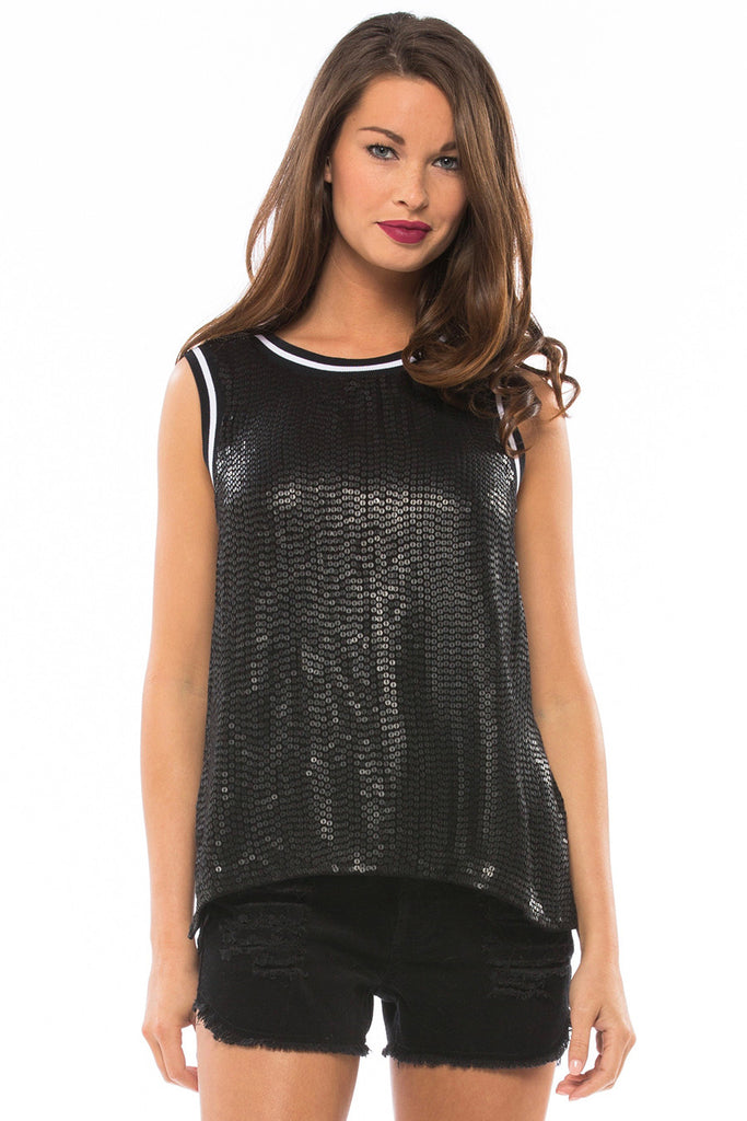 MLV Cara Black Sequin Top