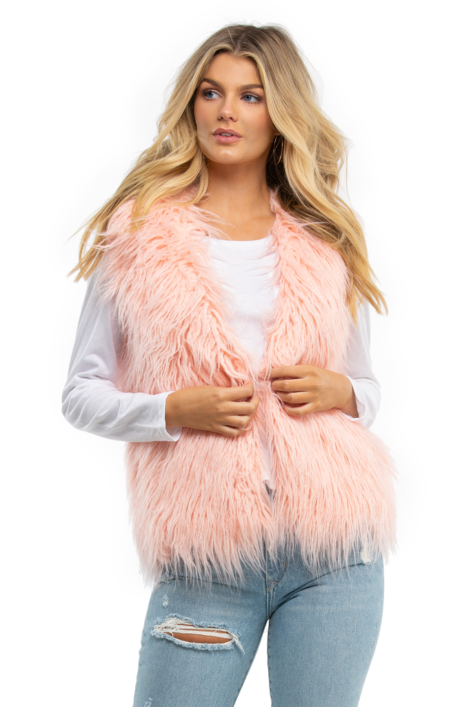 Pretty In Pink Faux Fur Vest
