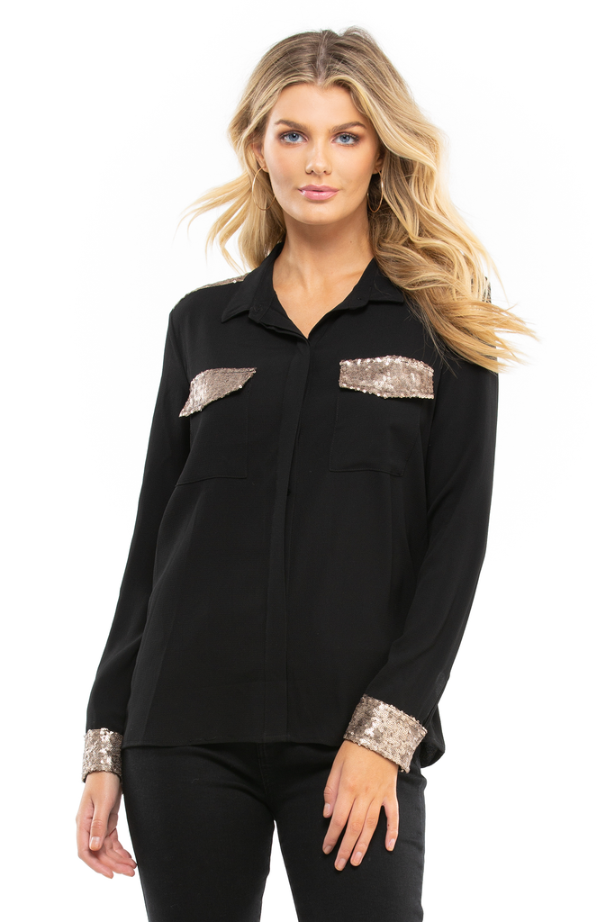 Sequin Pocket Blouse