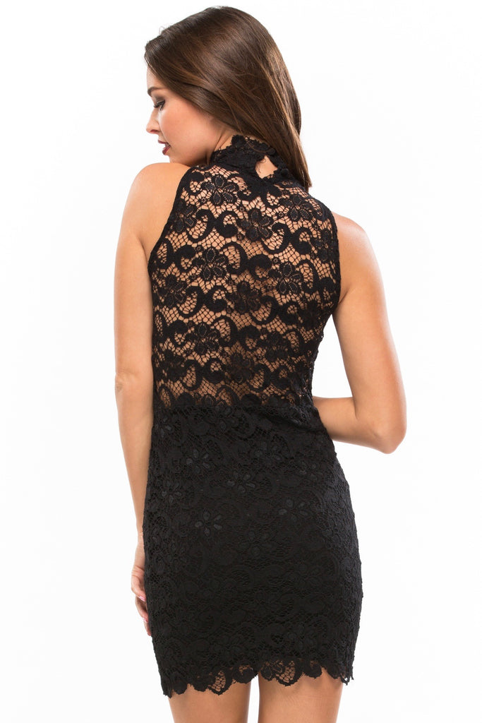 Dixie Lace Halter Dress - Sugarillashop.com