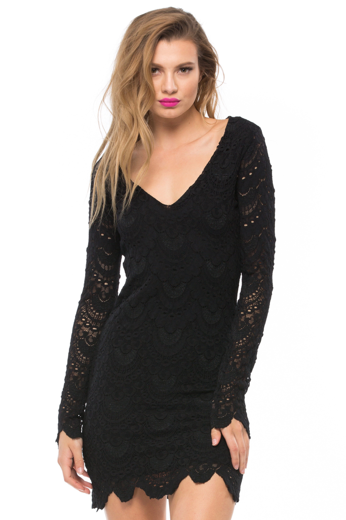Spanish Lace Deep V Dress