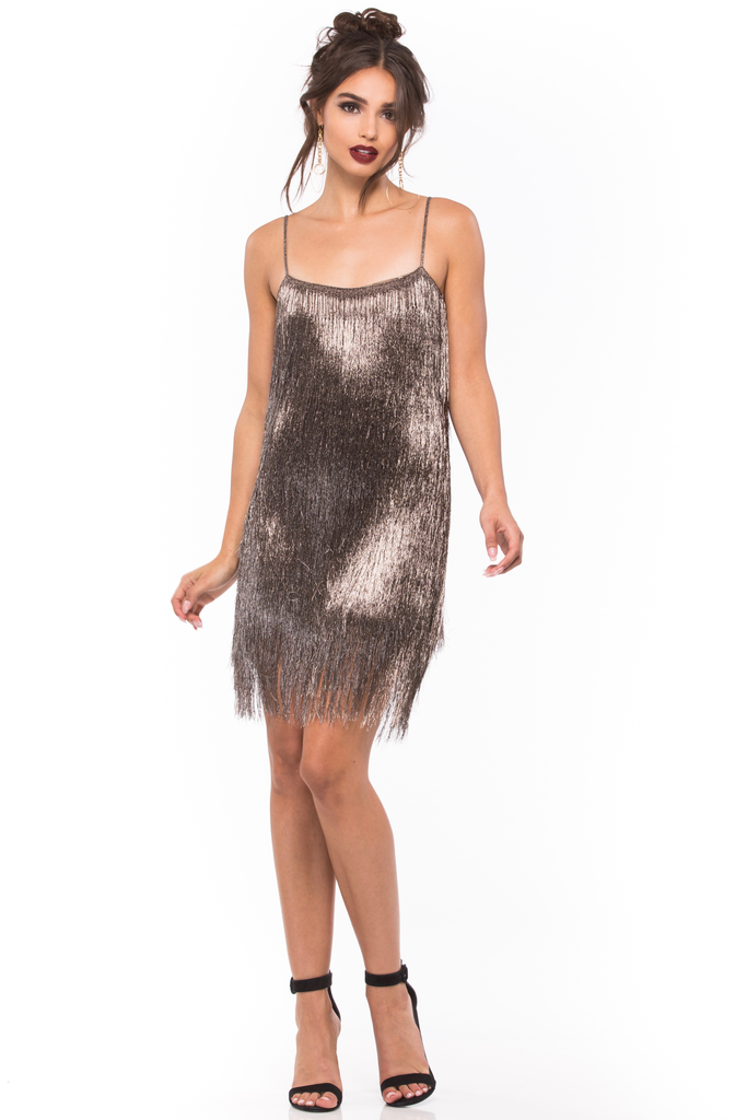 Della Fringe Metallic Mini Dress