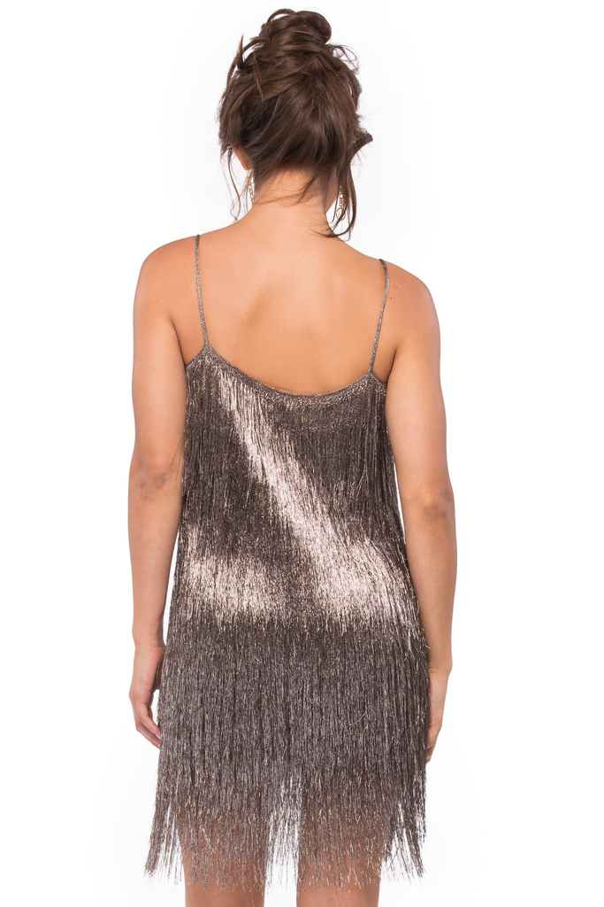 Della Fringe Metallic Mini Dress - Sugarillashop.com