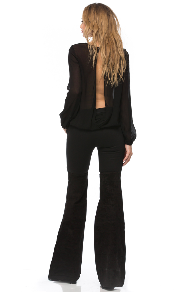 Gigi Twill & Suede Flare Pants