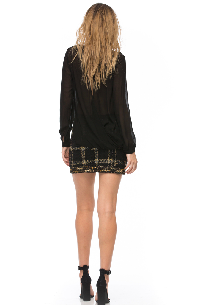 Bex Metallic Plaid Fringed Miniskirt
