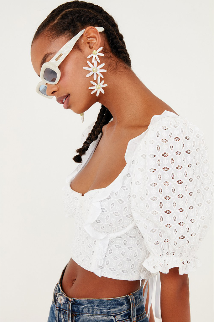 Sand Dollar Lace-up Top