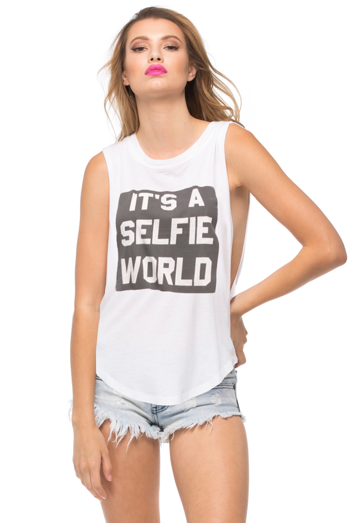 It's A Selfie World Muscle Tee