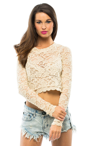 Cher Lace Crop Top - Sugarillashop.com