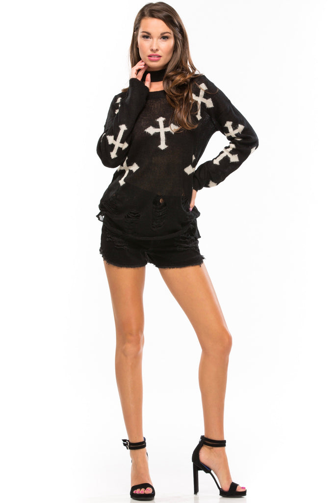 Destroyed Cross Sweater - Sugarillashop.com