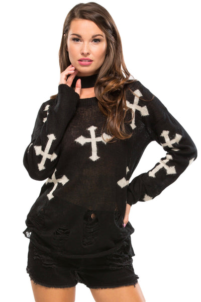 Destroyed Cross Sweater