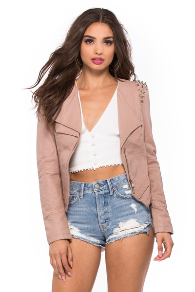 Faux Leather Studded Biker Jacket - Sugarillashop.com