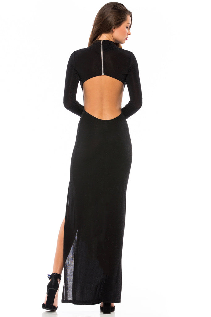 Lurex Long Sleeve Cut-Out Back Maxi