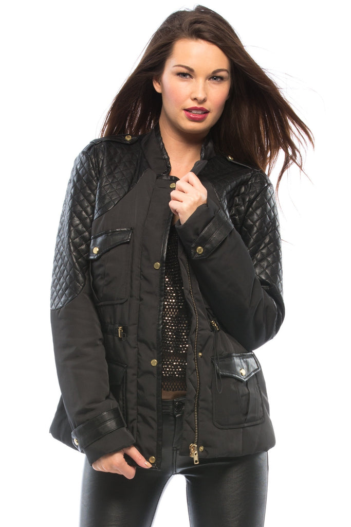 Quilted Faux Leather Coat
