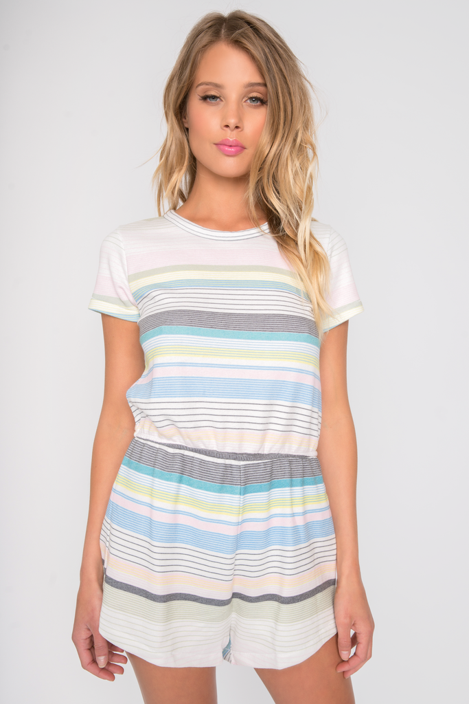 Beach Towel Stripe Romper - Sugarillashop.com