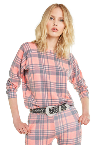 Sweetheart Plaid Junior Sweatshirt