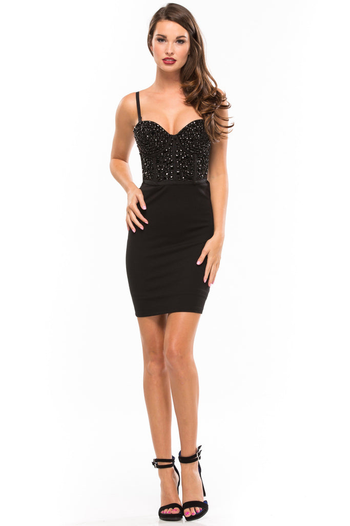 Material Girl Beaded Bustier Bodycon Dress