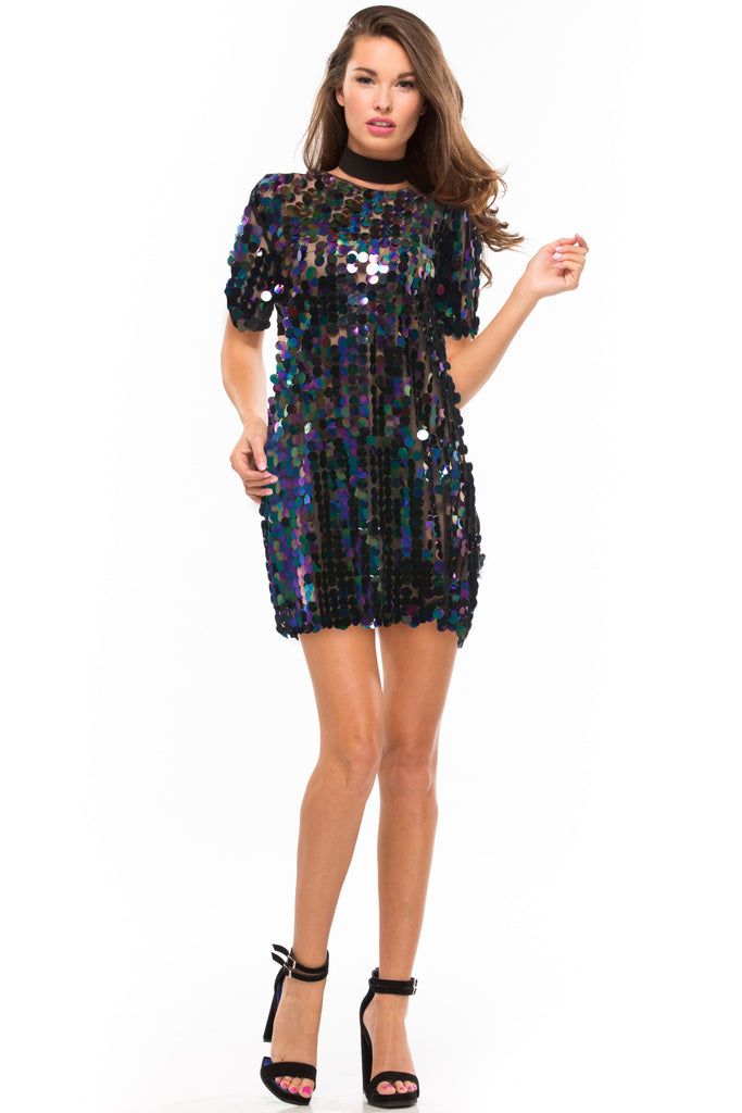 Funky Town Sequin T-Shirt Dress