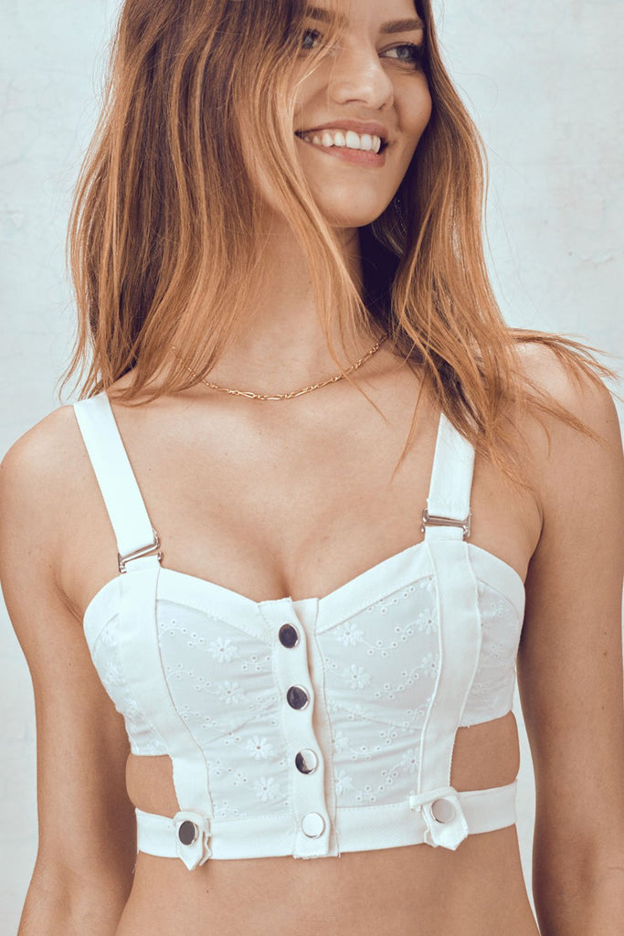 Daisy Eyelet Snap Up Bustier - Sugarillashop.com