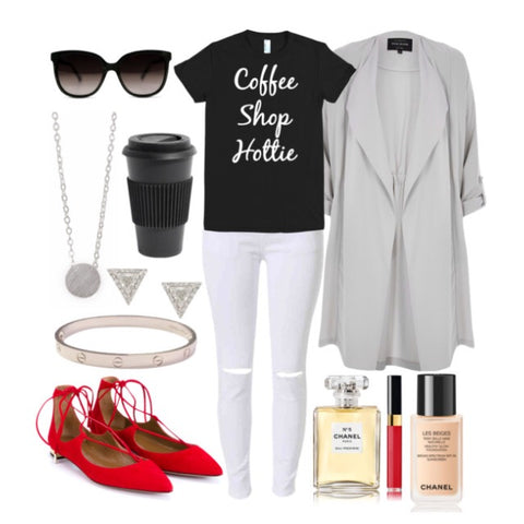 "Complete look for ""Coffee Shop Hottie"" t-shirt"