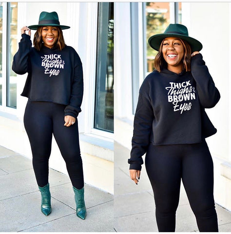 Thick Thighs Cropped Hoodie