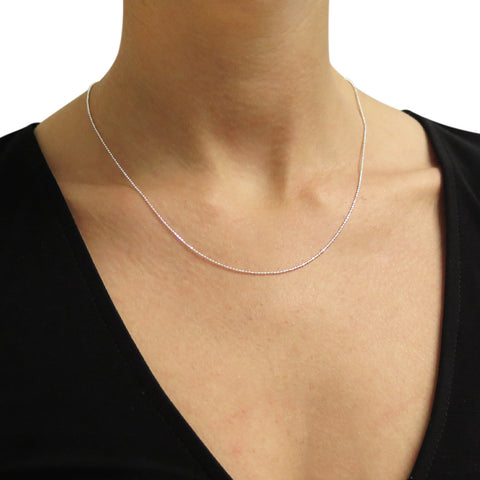 Italian Solid Sterling Silver Diamond Cut Bead Chain