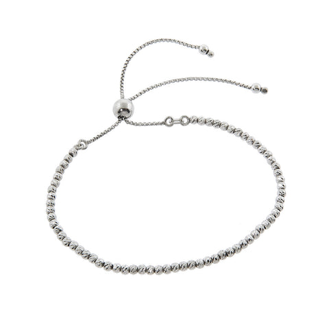Italian Solid Sterling Silver Beaded Slider Bracelet