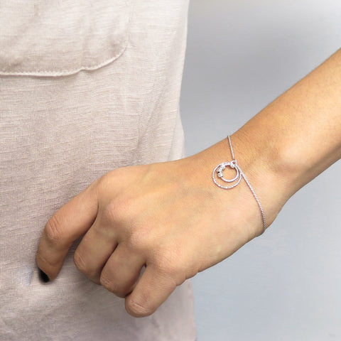 Italian Solid Sterling Silver Circle Drop Bracelet