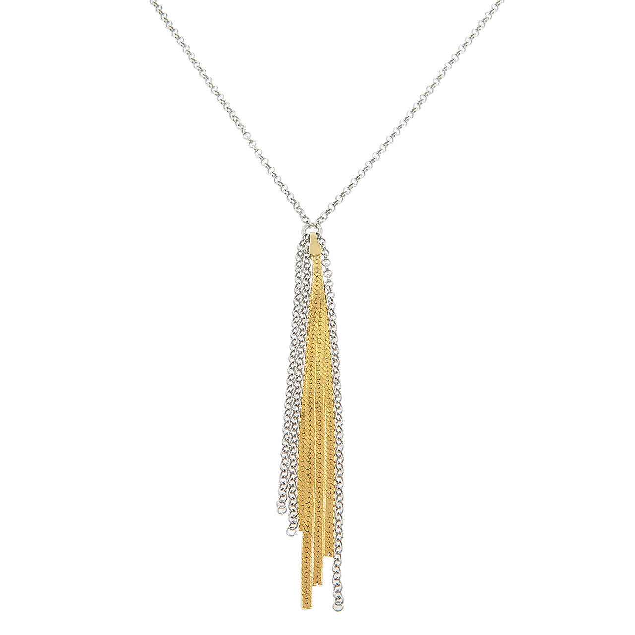 Italian 14k Gold plated Solid Sterling Silver Diamond Cut Tassle Necklace
