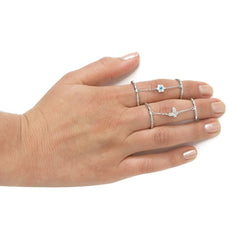 Solid Sterling Silver Chain Butterfly Ring