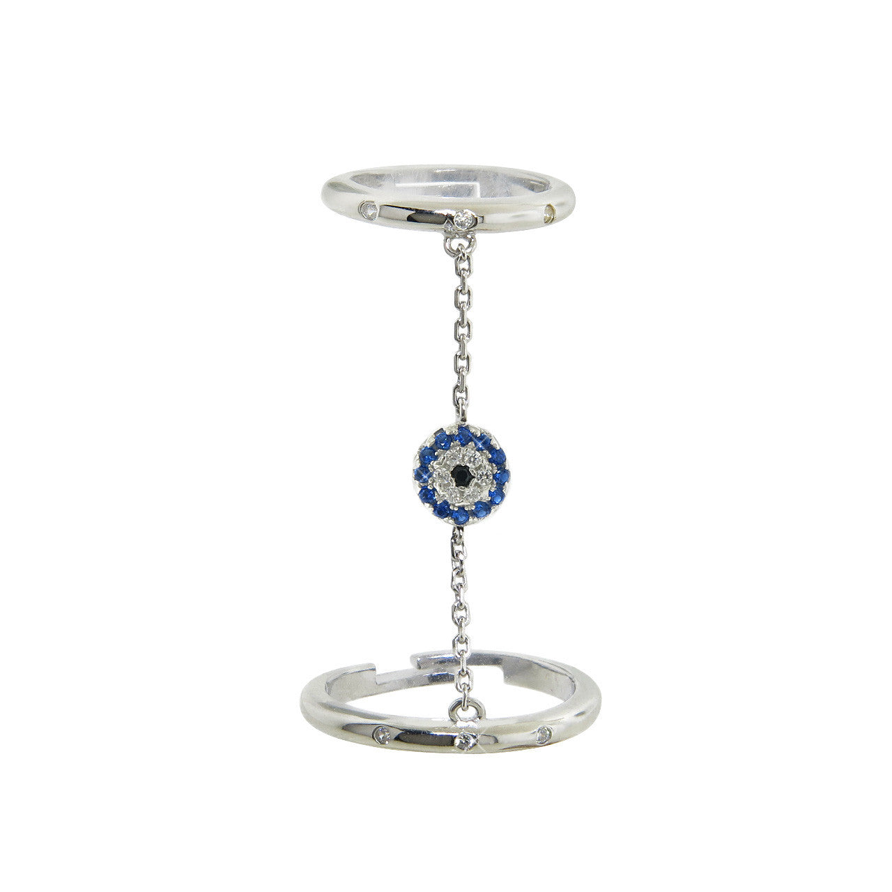 Solid Sterling Silver Chain Evil Eye Ring