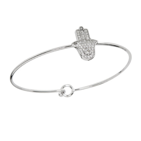 Hinged Pave Hamsa Bangle