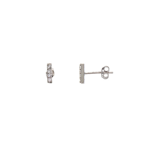 Sterling Silver Ice Bar Studs