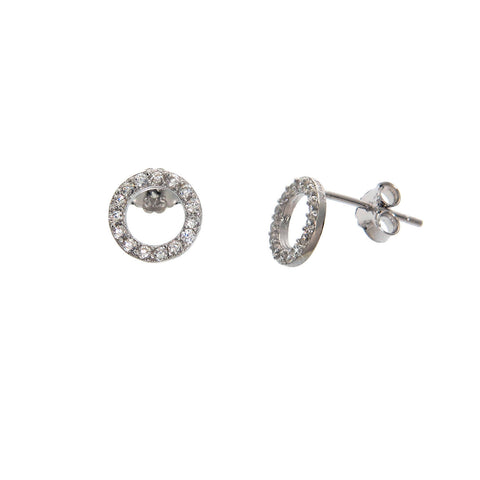 Pave Circle Earring Studs