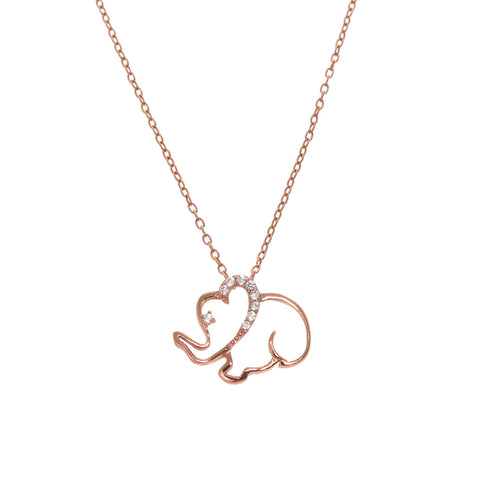 Rose Gold plated Sterling Silver Elephant Necklace