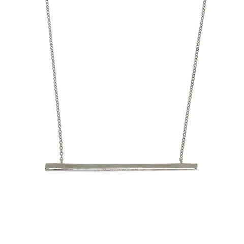 Sterling Silver Elongated Bar Necklace