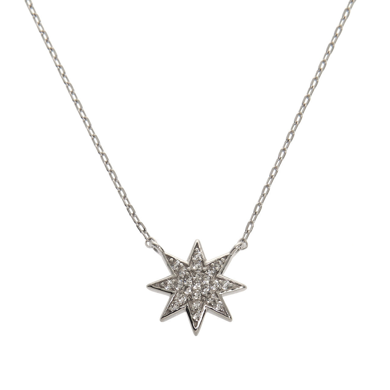 Solid Sterling Silver Starburst Necklace