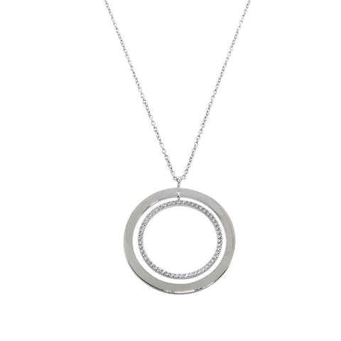 Pave Double Circle Pendant Necklace