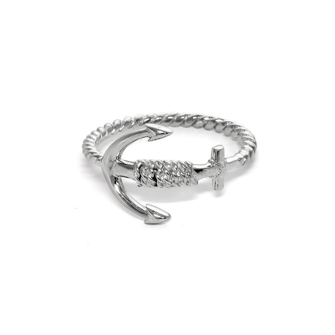 Sterling Silver Braided Rope Anchor Ring