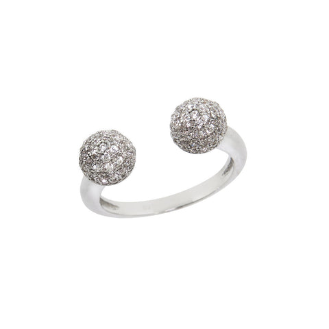 Pave Double Disco Ball Adjustable Ring