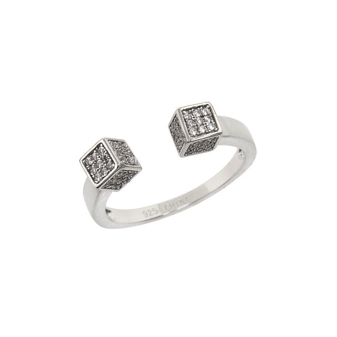 Four Sided Pave Cube Adjustable Ring
