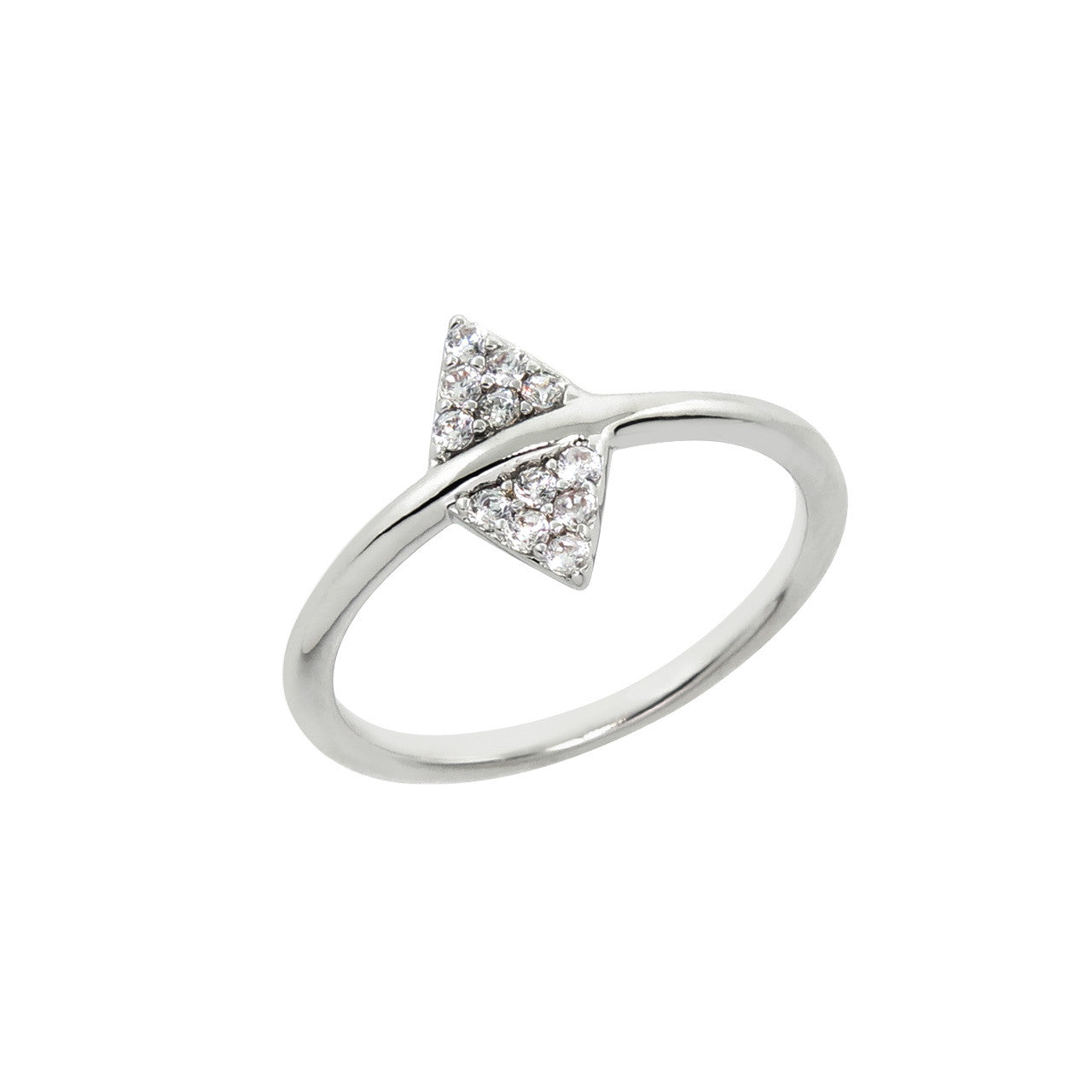 Pave Double Arrow Head Ring