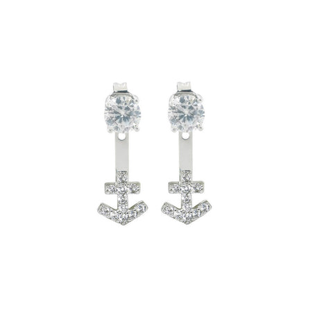 2CTTW Pave Anchor Front to Back Earrings