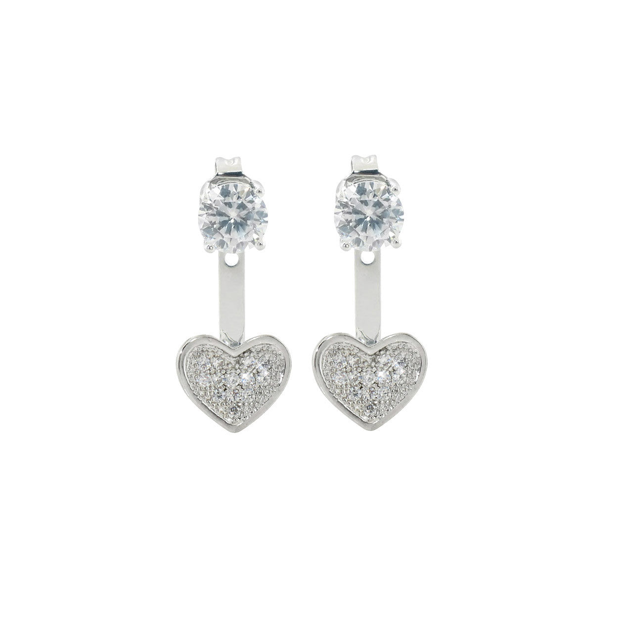 2CTTW Pave Heart Front to Back Earrings