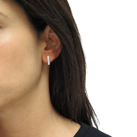 Pave Ice Bar Stud Earrings