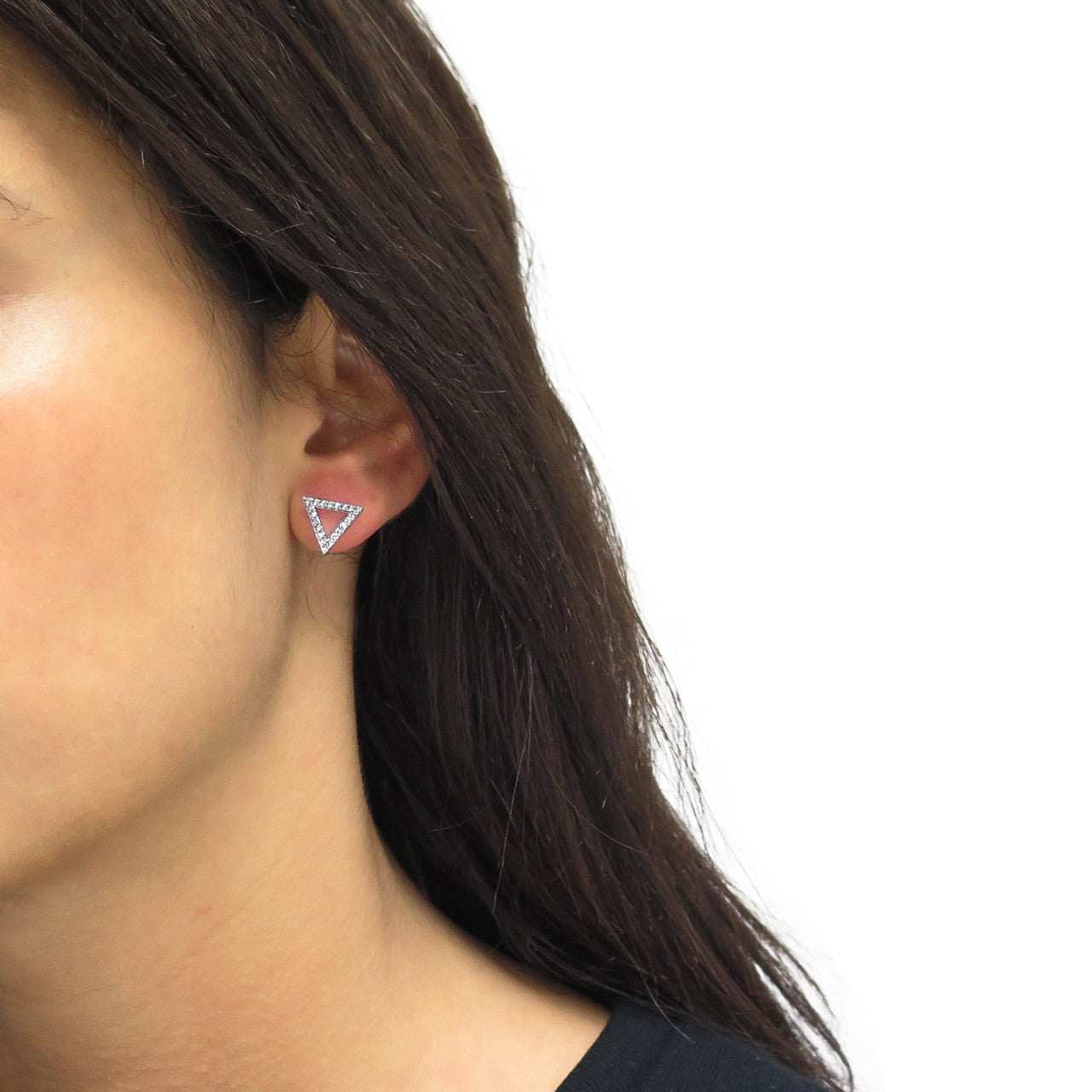 Pave Triangle Stud Earrings