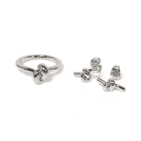 High Polished Love Knot Earring l Ring Set