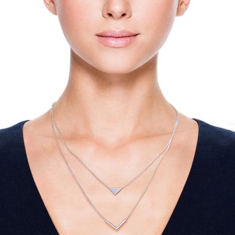 Solid Sterling Silver Chevron Layering Necklace