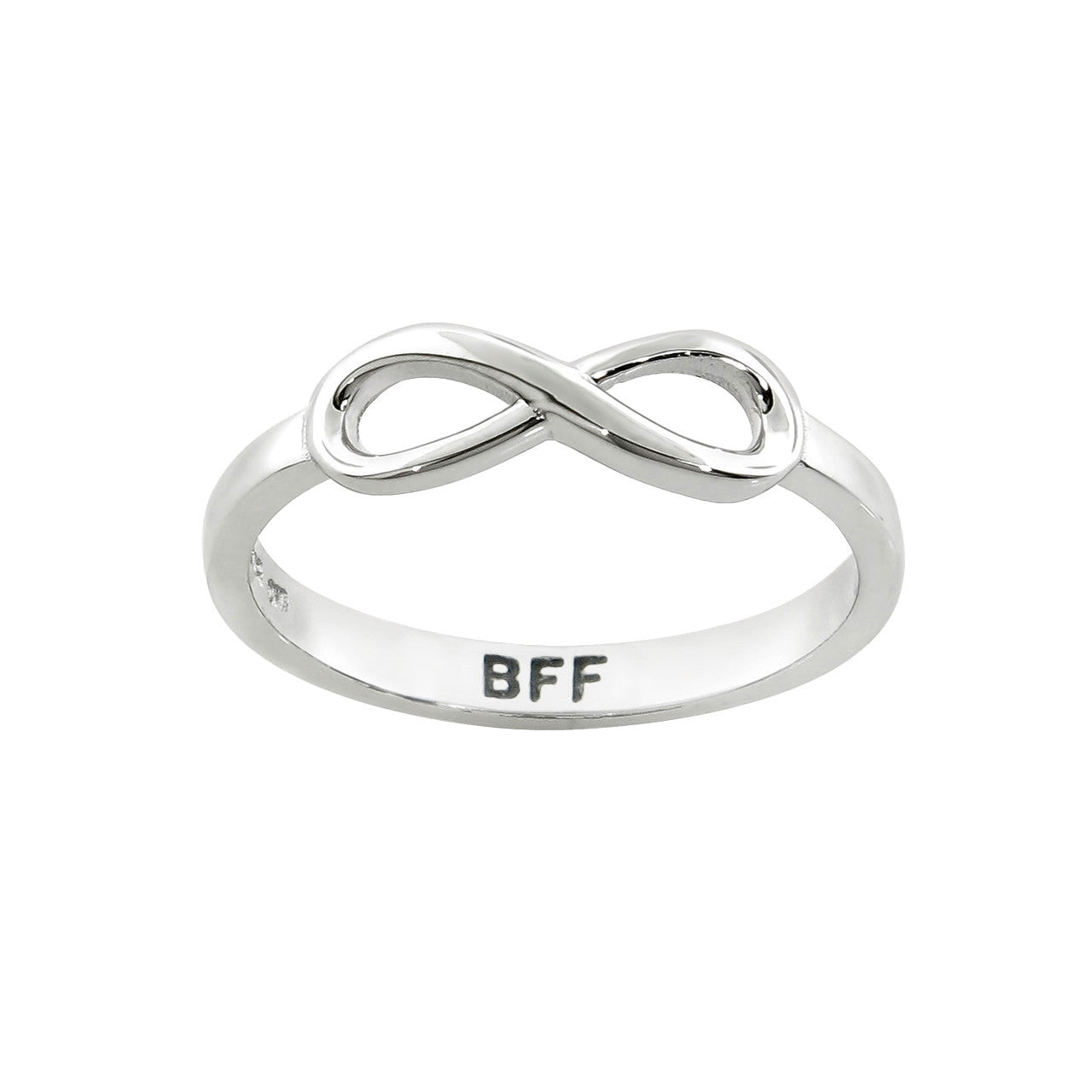 "Solid Sterling Silver ""BFF"" Message Ring"